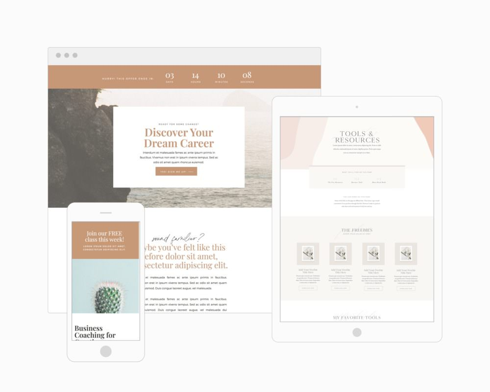 Sales page bundle for Showit - landing page, shop, sales page, webinar registration page | Davey & Krista