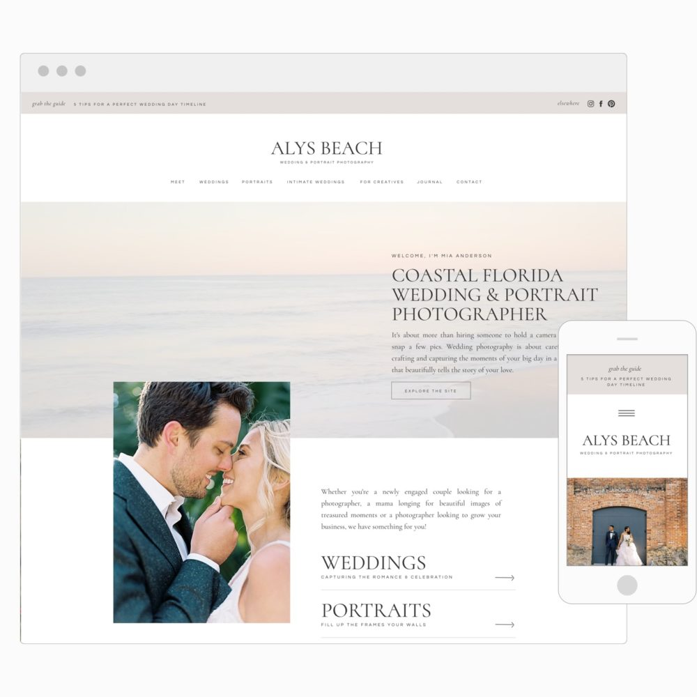 Easy to customize website templates for photographers + creatives | Showit | Davey & Krista
