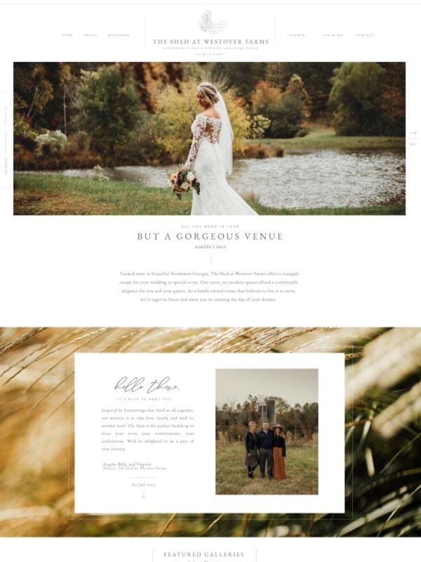 Wedding venue website designs