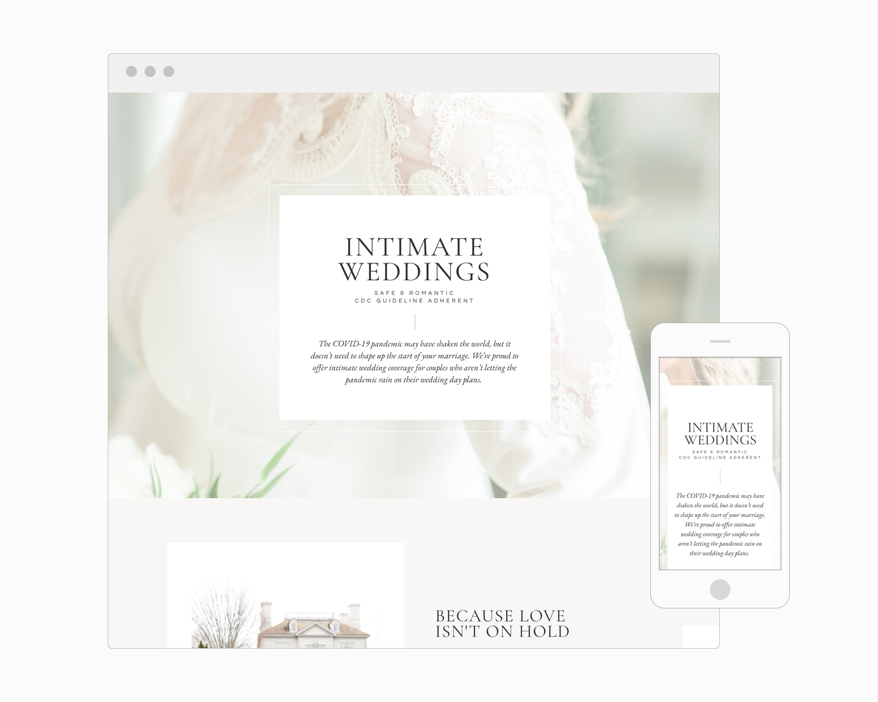 Intimate Weddings Page (Showit)