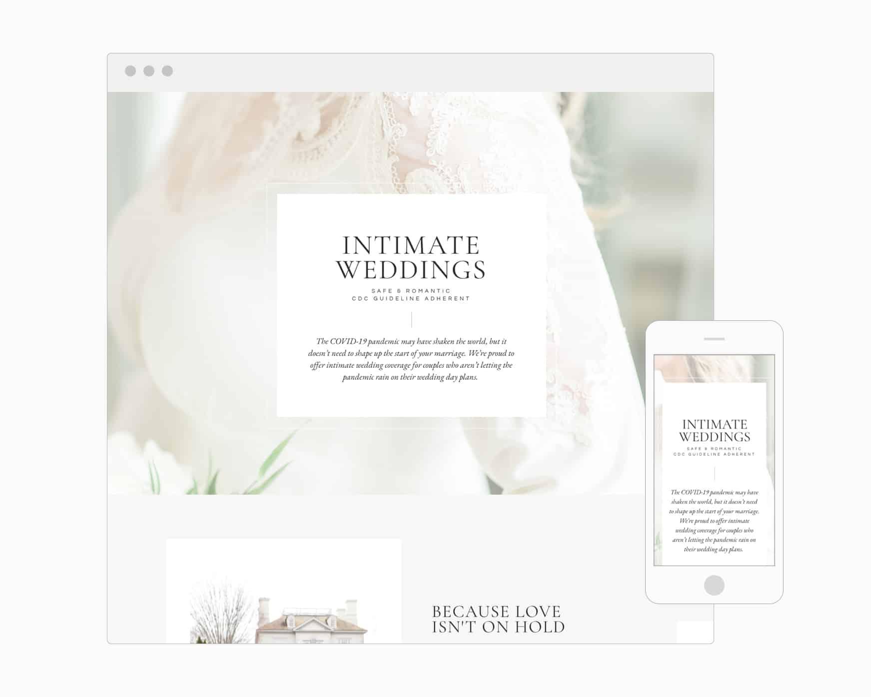 Intimate Weddings Page (WordPress)