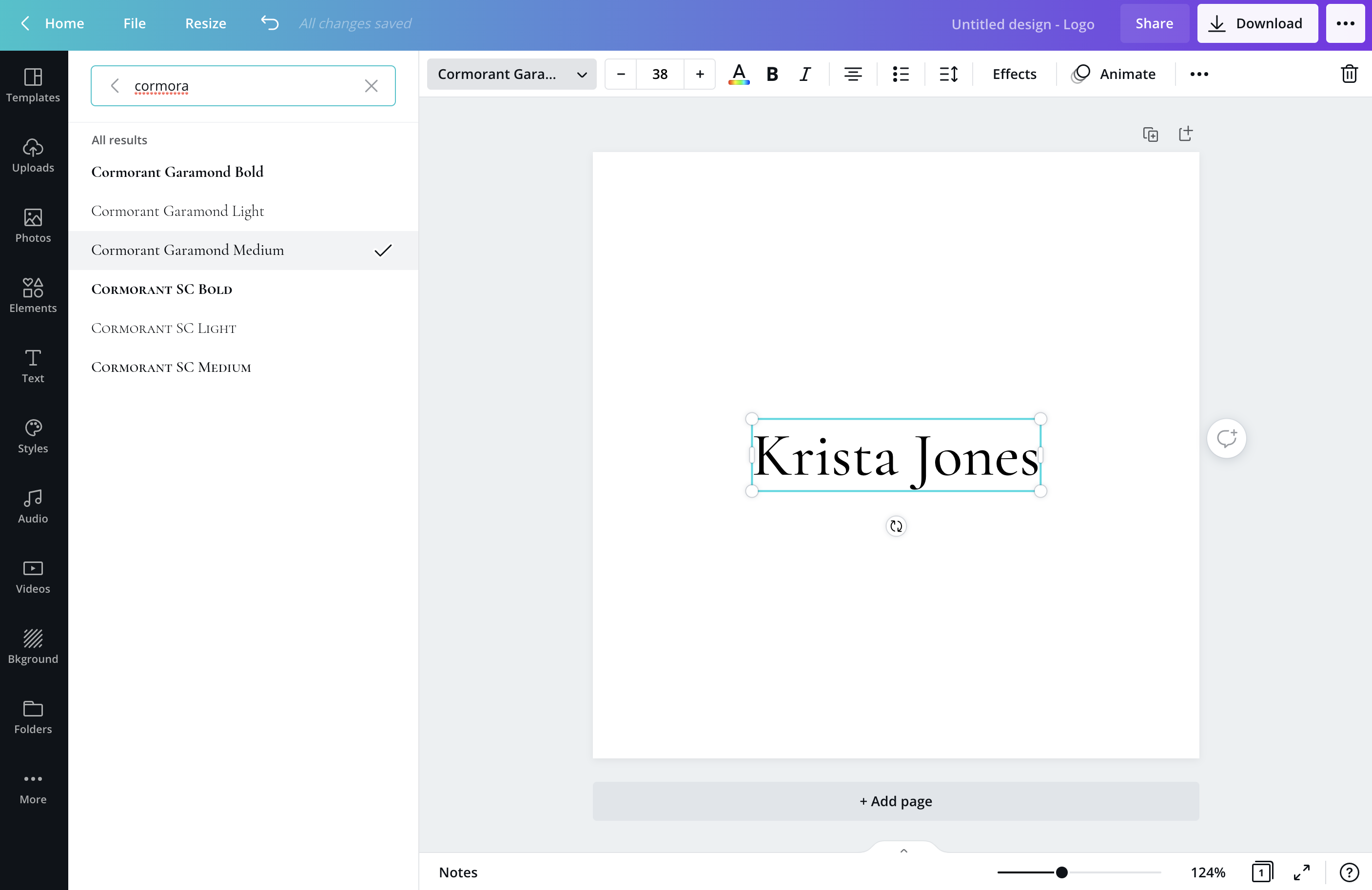 Type your business name and in the upper left corner, select your font. In this demo, we're going to use Adobe Illustrator.