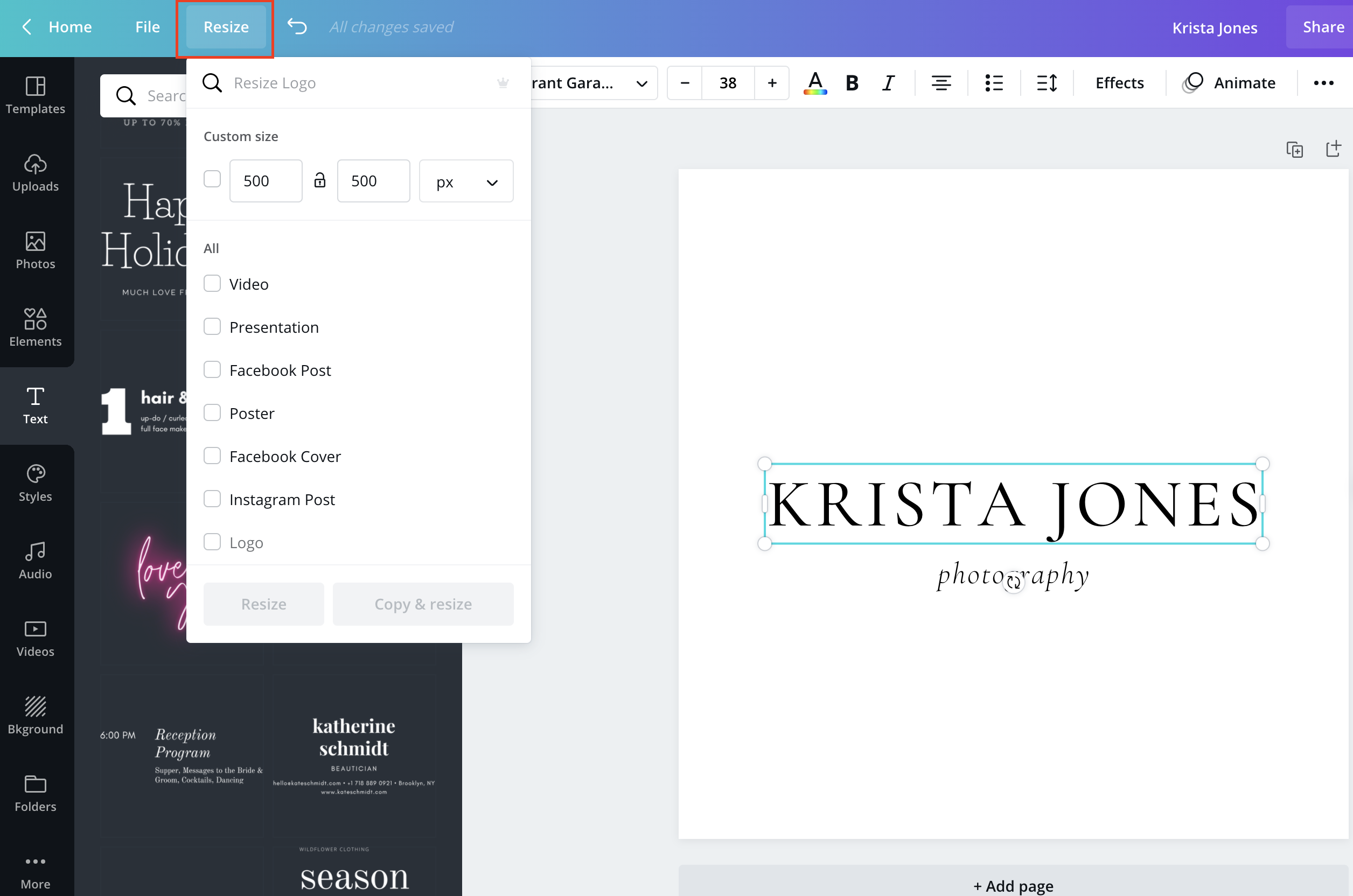 Creating a simple typographic logo in Canva Pro