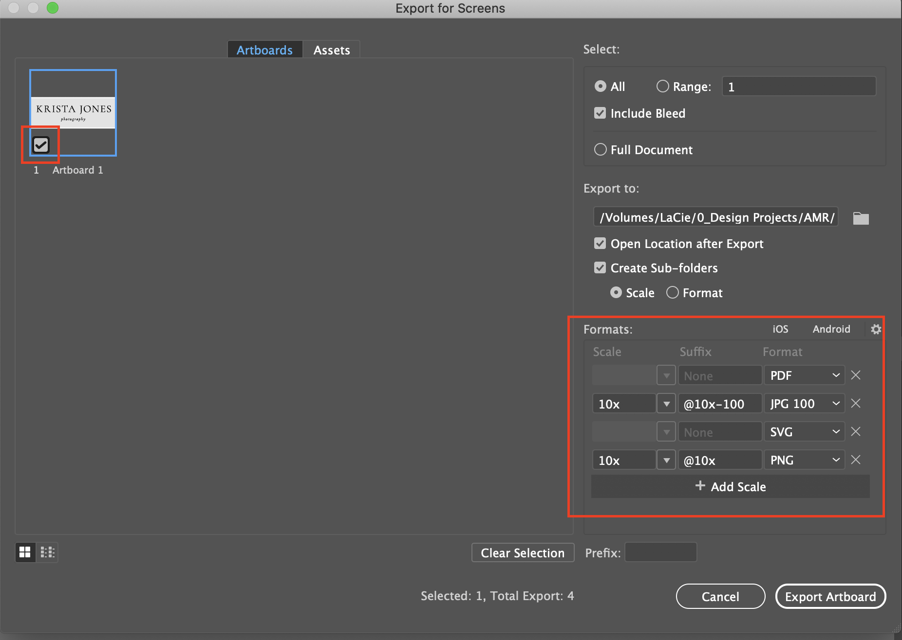 Export settings   Creating a simple typographic logo in Adobe Illustrator