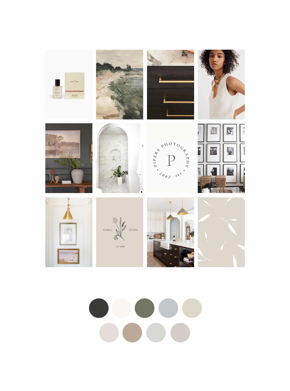 Contemporary, minimal mood board brand design   Davey & Krista