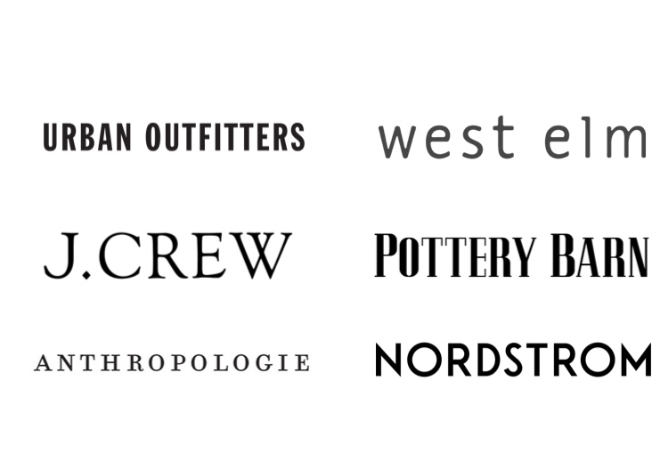 Simple typographic logos for well known brands