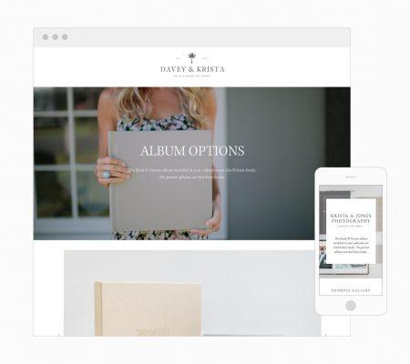 Album sales page for wedding photographers | Squarespace Template | Davey & Krista